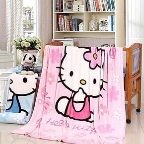 包邮卡通加厚珊瑚绒毯子空调毯床单毛巾毯HelloKitty海绵宝宝毛毯