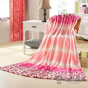 品诚家纺 法莱绒毛毯 豹点条纹 法莱绒 毛毯 加厚 毛巾被单双人