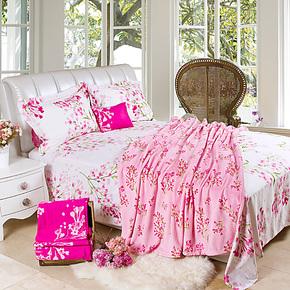 梦洁家纺 床上用品 正品 珊瑚绒毯 毛毯 环保印花 爱丽丝花园包邮
