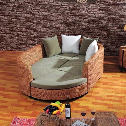沙发床 藤沙发床 藤艺床 组合沙发 圆形沙发 真藤沙发 藤家具
