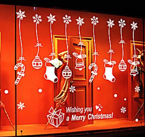 新年圣诞节墙贴纸装饰客厅卧室商店橱窗玻璃电视沙发墙可移除壁纸