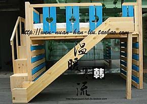 韩式实木双层床带滑梯定制实木高低床定做实木高架床实木子母床