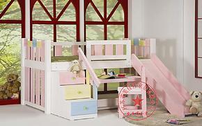 特价儿童实木家具 松木儿童床单人床踏步半高床 组合高低床带滑梯