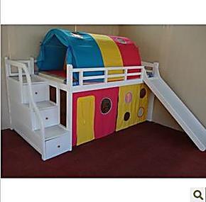 特价滑梯床儿童帐篷床实木床儿童组合床 松木床 带护栏床 高低床