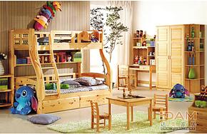实木儿童床双层上下铺 带护栏滑梯子母床 松木高低床