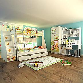 迪士尼·维尼拼拼乐园 高低床(全木架)儿童家具套房
