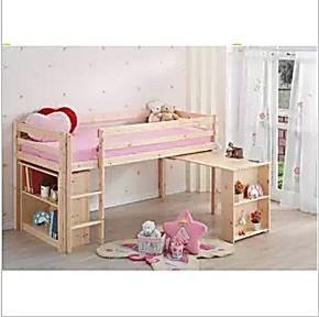 高架床单人 儿童床实木 组合床高低床 带书桌写字台 加储物组合
