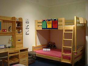 青少年儿童实木双层床 星星索高低床 松木儿童床 子母床 上下床