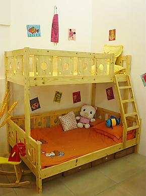 美好家坚固松子母床双层床高低床上下床挂梯床多功能田园木质安全