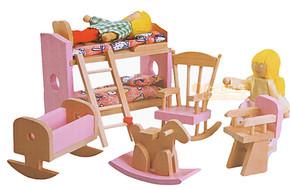 木制小家具 我的卧室 木质高低床玩具 过家家玩具 小家具益智玩具