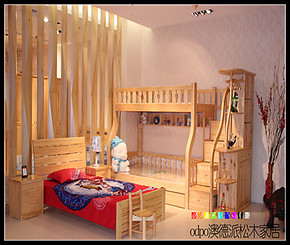 澳德派正品实木松木上下床 儿童母子床小孩高低床抽屉楼梯