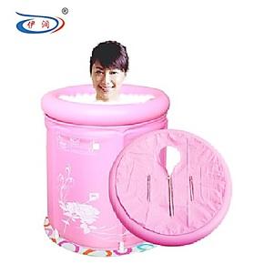 伊润环保折叠浴桶沐浴桶沐浴盆充气浴缸成人泡澡桶70*70 送海绵垫