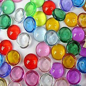 彩色亚克力扁圆珠鱼缸贴片浴缸装饰扁圆珠马赛克水晶石头弹球