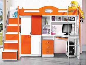 儿童家具 带书台衣柜床 1米高低床 功能床 组合床K07 一款双色
