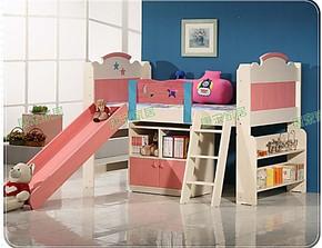 松木 实木儿童床 高低床 半高床 字母床 滑梯床 儿童实木床