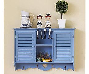 地中海 大号百叶窗储物柜 厨柜壁柜 壁橱 壁饰挂 置物搁板架 蓝色