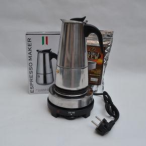 意式咖啡机美式滴滤壶分离式电动摩卡壶咖啡电热炉套组6-9杯份