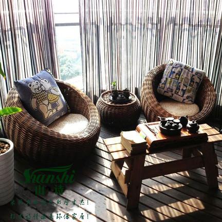 欧式客厅家具套装组合藤编球形沙发椅创意榻榻米单人懒人沙发茶几