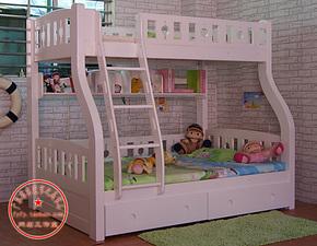 韩式纯白双层床 实木子母床 双层上下床 高低床母子床 儿童组合床