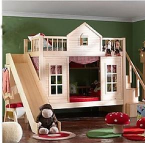 儿童床 实木森林小屋高低床 上下床子母床 双层滑梯床 母子衣柜床