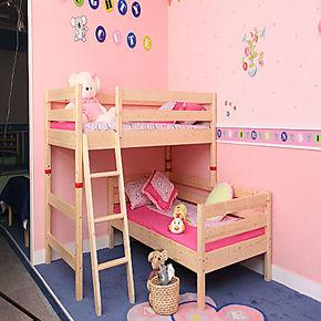 松堡贝贝实木松木果王国高低床子母床七彩双层床上下铺人生儿童床