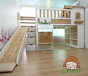 新款实木儿童床 儿童实木床 彩色滑梯床松木小屋床 子母床 高低床