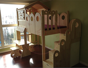 实木儿童床 儿童实木床 彩色滑梯床松木小屋床 子母床 高低床