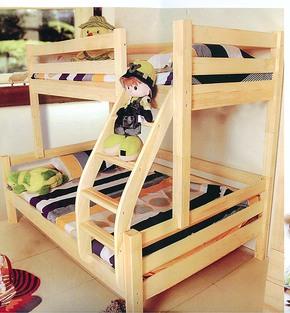 特从大促厂家直销高低床松木床安全木质特价字母拦板简约现代床全