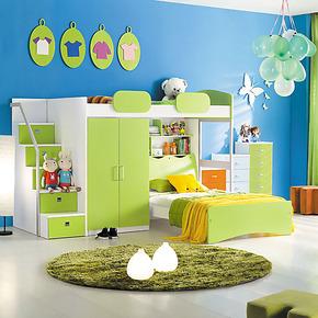儿童套房家具组合床 L型7字双层床 高低床 儿童子母床 包物流 H01