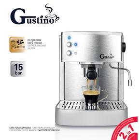 gustino泵压式家用咖啡机  意式半自动 不锈钢 商用咖啡壶