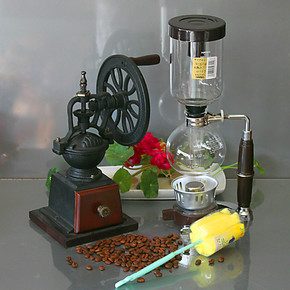 酒精灯咖啡机虹吸壶 手摇磨豆机咖啡磨粉器MD11L 日式咖啡机套装