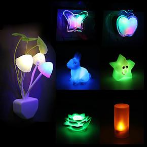 LED光控声控感应灯 创意七彩小夜灯 节能 环保 插电式壁灯 床头灯