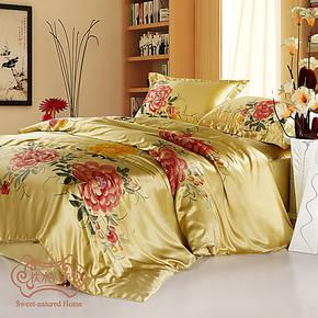 正品特价枕水人家真丝手绘床品套件 重磅100桑蚕丝床上用品四件套