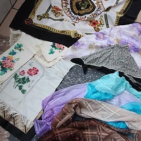 精品甩!真丝用品尾货处理。手帕大方巾丝巾围巾吊带睡衣床品套件