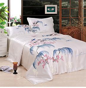 真丝套件 双面100%桑蚕丝手绘 丝绸床上用品 四件套床裙床罩床品