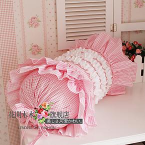 田园风格 韩式家居 公主床品套件配套可爱粉红小格子糖果抱枕