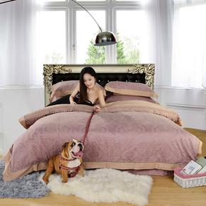 优雅莱家纺床品套件 复古麻纤维天丝提花 床上用品四件套全棉特价