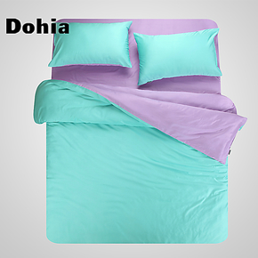 多喜爱天丝四件套 床笠款纯色床品套件 家纺素色双拼天丝床上用品