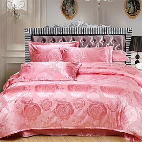 欧式床上用品天丝贡缎提花四件套全棉被套床单4件套1.8米床品婚庆