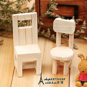 ZAKKA杂货,木制手工仿真家具,拍摄道具,家居摆件,实木复古小方椅