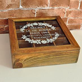 zakka杂货 复古小木盒 实木做旧收纳盒 木质 玻璃首饰盒 家具装饰