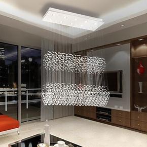 经典客厅水晶灯珠帘吊灯吊线水晶灯现代双层客厅灯餐厅吊灯包邮灯