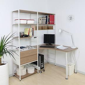 包邮典彩 钢木家具书房拐角电脑桌书桌书柜书架一体环保材质L3-05